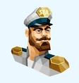Captain low poly vector image