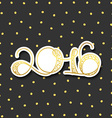 Card 2016 years in gold with shadow over gray vector image