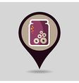 Halloween eye glass jar mapping pin icon vector image