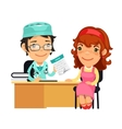 Lady Doctor Giving a Prescription to Her Female vector image