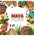 maya civilization cartoon frame vector image