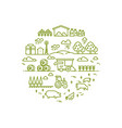 rural landscape and agriculture farming thin line vector image
