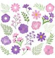 Purple Floral Set vector image