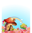 A mushroom house above the hill with a garden vector image vector image