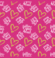 seamless pattern from hearts on pink vector image
