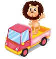 A pink cargo truck with a lion waving at the back vector image vector image