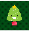 Adorable cartoon Christmas Kawaii tree vector image vector image