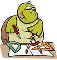 turtle with calipers cartoon vector image vector image