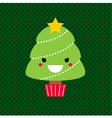 Adorable cartoon Christmas Kawaii tree vector image