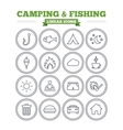 Camping and fishing linear icons set Thin outline vector image