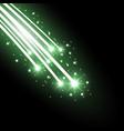 glittering falling stars green color vector image