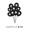 Happily Die Set of Black balloons for funeral vector image