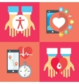 Healthy heart concept flat icons of jogging gym vector image