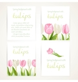 Pink and white tulips on four vertical blank vector image