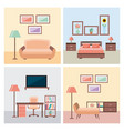 set of interior house room with furniture icons vector image