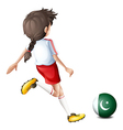 A girl kicking the ball with the flag of Pakistan vector image vector image