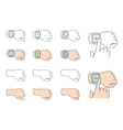 Hands with smartwatch icons vector image vector image