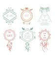 Boho tribal hipster labels vector image