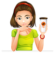 A woman holding a glass of coffee vector image
