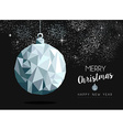 Christmas silver bauble ornament greeting card vector image