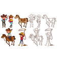 Cowboys and horses in colors and line vector image