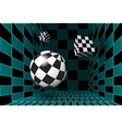 Digital checkered room with 3D figures vector image