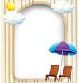 An empty entrance template with a beach umbrella vector image
