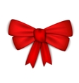 Realistic red ribbon bow vector image vector image