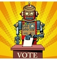 Robot the voter vote on election day vector image