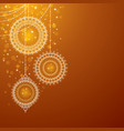 Christmas ornaments on golden background vector image