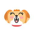 cute smiling dog head funny cartoon animal vector image