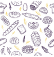 Seamless pattern with bread and wheat Hand drawn vector image