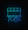 wheel market stall blue icon mobile cart vector image