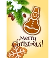 Christmas gingerbread cookie for postcard design vector image