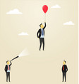 man flying upside in a balloon vector image