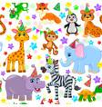 seamless animal pattern stars birthday cone vector image