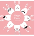 Happy Hipster Easter - set of stylish bunnyeggs vector image