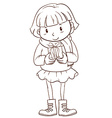 A plain sketch of a girl holding a christmas gift vector image