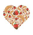 croissant and strawberry in chocolate in heart vector image
