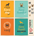 French Bulldog Typographic Background Set vector image