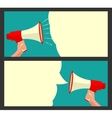 Male hand holding loudspeaker and bubble vector image