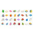 school books icon set isometric style vector image