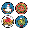 set of christmas and new year emblems vector image