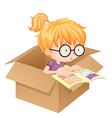 A girl reading book in a box vector image vector image