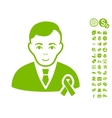 Gentleman With Mourning Ribbon Icon With Free
