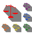scales of justice sign set of red orange yellow vector image
