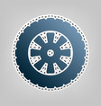 road tire sign  blue icon with outline for vector image