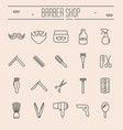 set of minimalistic barber shop icons vector image