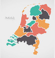 netherlands map with states and modern round vector image