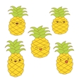 Set of cute pineapples with different emotions for vector image